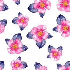 Floral seamless pattern. Watercolor background with pink flowers 2