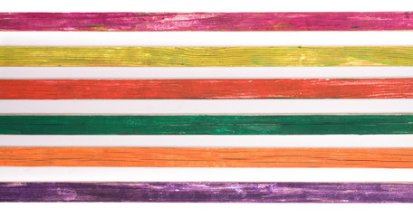 Colored wooden slats, old rustic boards