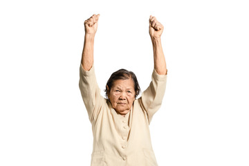portrait of a senior woman exercising. Isolated on white background with clipping path
