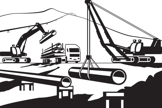 Construction of above ground pipeline - vector illustration