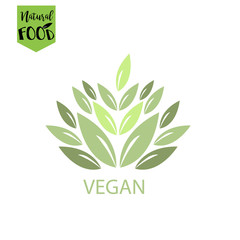vegan, natural, bio food logo in vector