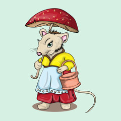 Mouse with a mushroom umbrella in hands