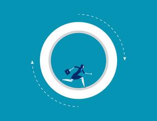 Businesswoman running inside wheel. Concept business vector illustration.