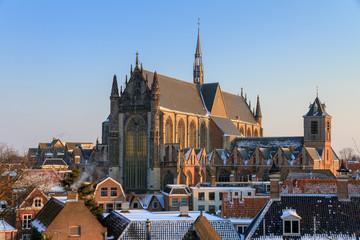 Foto op Aluminium Monument Cityscape skyline of the Hooglandse kerk (church) in Leiden, the Netherlands in winter