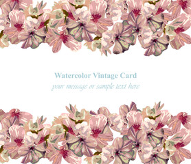 Vintage Summer flowers blossom card frame. Spring Season delicate watercolor flowers Wedding Invitation. Place for text. Vector illustration