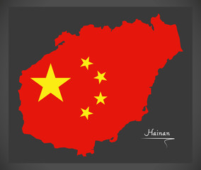 Hainan China map with Chinese national flag illustration