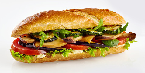 Fresh baguette sandwich with vegetables
