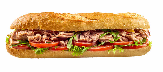 Foto op Plexiglas Snack Baguette sandwich with tuna fish and vegetables