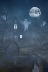 Cabin and a graveyard in a spooky forest at night