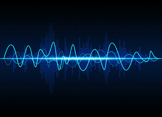 Sound waves oscillating glow light, Abstract technology background - Vector   Wall mural