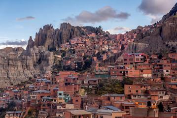 Houses near Moon Valley in La Paz, Bolivia