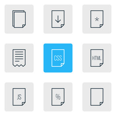Vector Illustration Of 9 File Icons. Editable Pack Of Percent, Code, Basic And Other Elements.