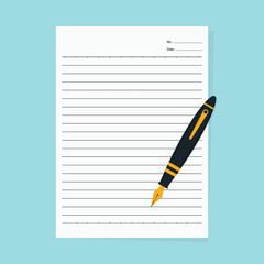 Notebook paper and fountain pen isolated on a blue background - Vector
