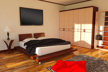 SUNNY CONTEMPORARY MODERN BEDROOM PERSPECTIVE VEW 1