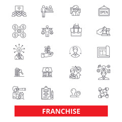 Franchise, business,small business, franchisor,store line icons. Editable strokes. Flat design vector illustration symbol concept. Linear signs isolated on white background