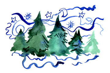 Watercolor hand painted Christmas illustration with new year trees. Invitation, greeting card.