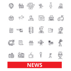 News,events,facts, data,report,comments,communication, discovery, report, story line icons. Editable strokes. Flat design vector illustration symbol concept. Linear signs isolated on white background