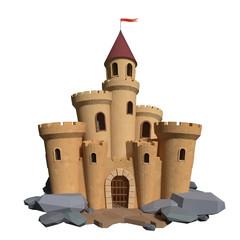 3d cartoon medieval castle