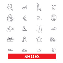 Shoes, women, footwear, cleats, slippers, boots, sneakers, heels, moccasins line icons. Editable strokes. Flat design vector illustration symbol concept. Linear signs isolated on white background