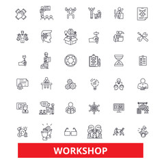 Workshop, seminar,training, conference, garage,meeting,classroom,workplace line icons. Editable strokes. Flat design vector illustration symbol concept. Linear signs isolated on white background
