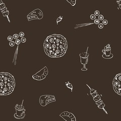 Seamless pattern with food on dark background. Pizza, kebab, rolls, pie, chicken, scrambled eggs, smoothie. Doodle art. Freehand outline ink hand drawn picture object sketch.