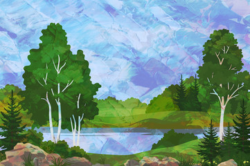 Landscape, Birch, Fir Trees and Stones on the Shore of a Lake on Hand-Draw Oil Paint Painting Background