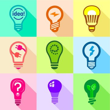 Types of creative bulbs icons set, flat style