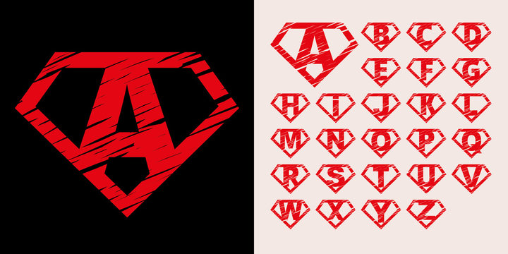Super hero Logo Letters Supehero Alphabet