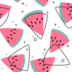 Bright colorful vector seamless pattern with sliced watermelons. Vivid illustration in retro color style. Vintage colors and shapes. Pink on white background.