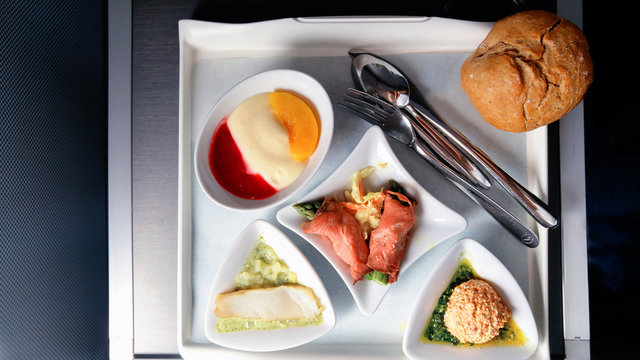 Lunch in the business class on board the aircraft