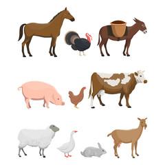 Vector illustration set of farm animals