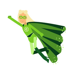 Ecological superhero blonde woman in green costume flying through the air in superhero pose with outstretched hand, eco concept vector Illustration