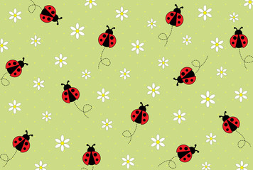 Flying ladybugs and daisies on polka dots background
