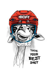 Giraffe in a red Ice Hockey Helmet. Vector illustration.