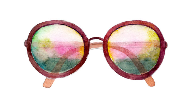 Watercolor sunglasses isolated on white background, hand drawn illustration.