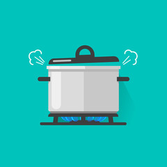 Pan with steam on gas stove fire cooking some boiling food vector illustration isolated, flat cartoon saucepan on kitchen stove
