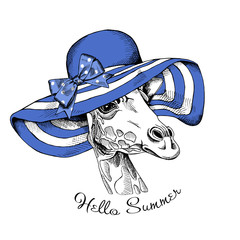Giraffe portrait of profile in a blue summer sun hat with bow. Vector illustration.