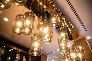classic light bulbs decorated in bar