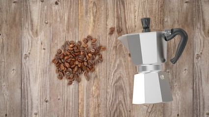 3D Rendering Italian metallic coffee maker with coffee beans on wood table