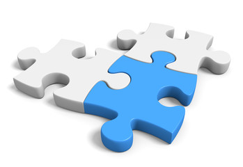 Three connected jigsaw puzzle pieces on a white background, 3D rendering