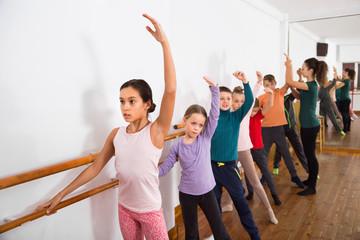 Young ballet dancers exercising in ballroom