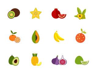 Seasonal fruit icon set