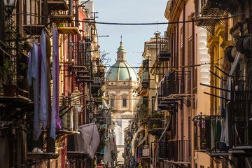 Foto op Canvas Palermo View at the church of San Matteo located in heart of Palermo, Italy, Europe. Traditional Italian medieval city center with typical narrow residential street.