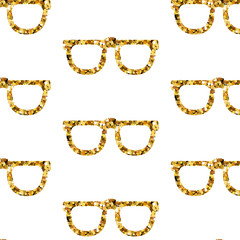 Gold glasses seamless pattern on white backgroung