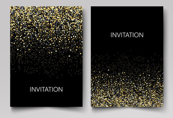 Invitation template with gold glitter confetti background. Festive greeting cards design for event