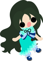 The illustration of cute stylish girl
