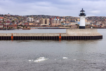 Duluth Lighthouse and Lake Superior\