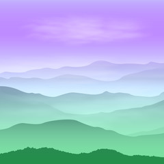 Background with green mountains in the fog. Sunset time.