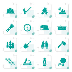 Stylized Camping, travel and Tourism icons - vector icon set