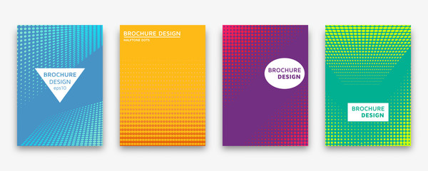 Brochure design with halftone dots and neon gradients. Vector illustration.